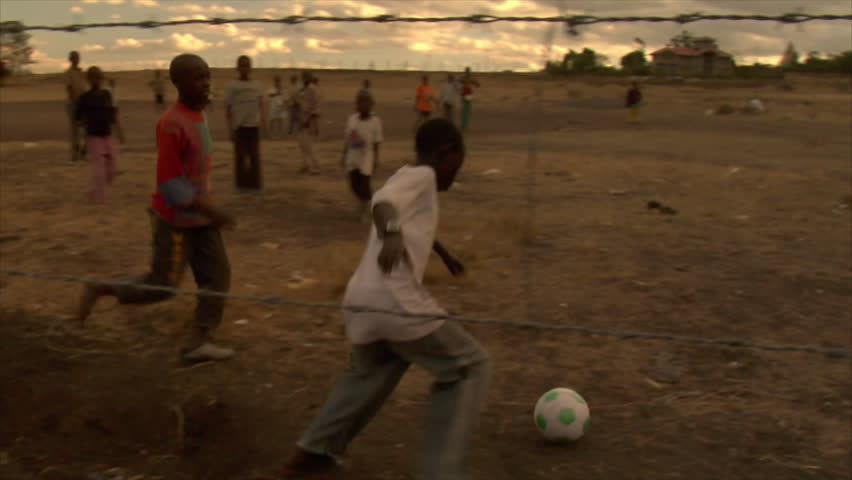 KENYA - CIRCA 2006: Unidentified kids play soccer circa 2006 in Kenya.