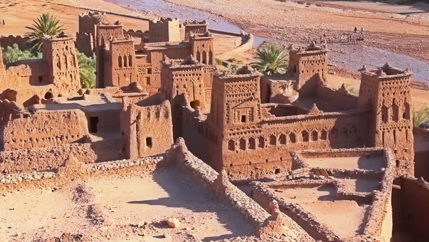 Fortified City (Ksar) with Mud Houses in the Kasbah Ait Benhaddou near Ouarzazate, Morocco. Souss-Massa-region. Ounila River. UNESCO World Heritage Site since 1987