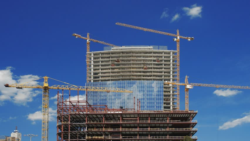 Under construction building - HD stock footage clip