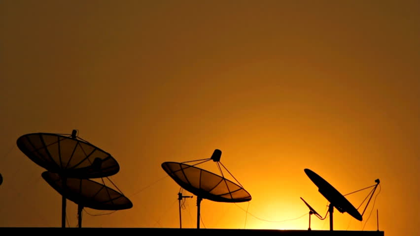 Satellite communications. On the evening sky. - HD stock video clip