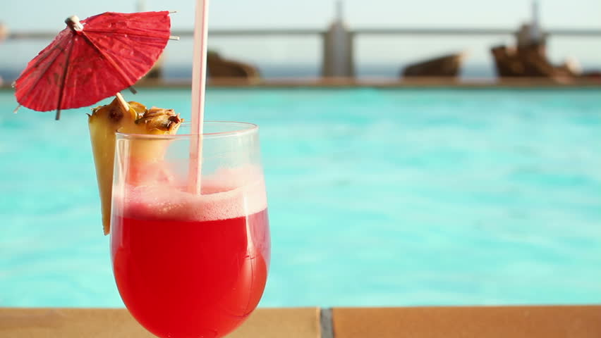 Summer Drink With Umbrella By The Swimming Pool Stock Footage Video 2131274 Shutterstock