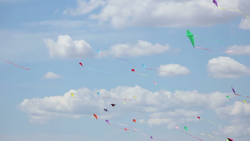 Kites flying - HD stock video clip
