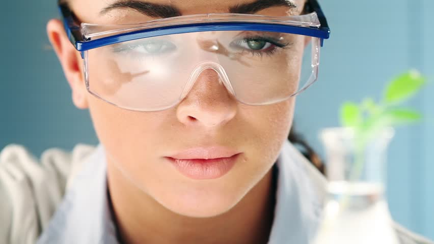 Scientist conducting research in laboratory for fossil fuel - HD stock footage clip