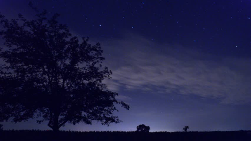 Timelapse of night sky with stars and clouds from field. - HD stock video clip