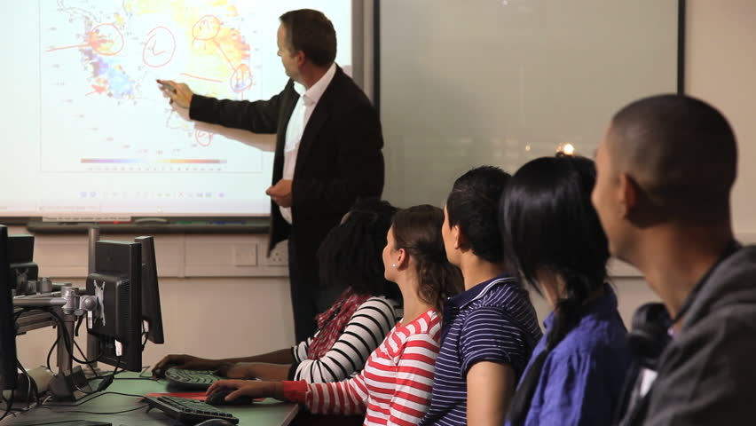 Students with teacher in classroom