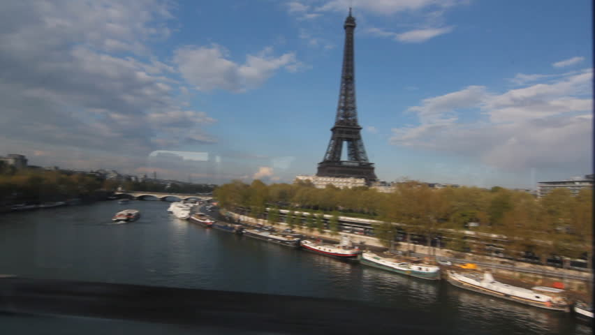 Eiffel Tower from Metro train.