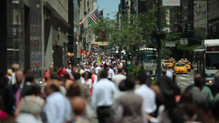 Anonymous Crowd Walking sidewalk in New York City 24P - HD stock footage clip