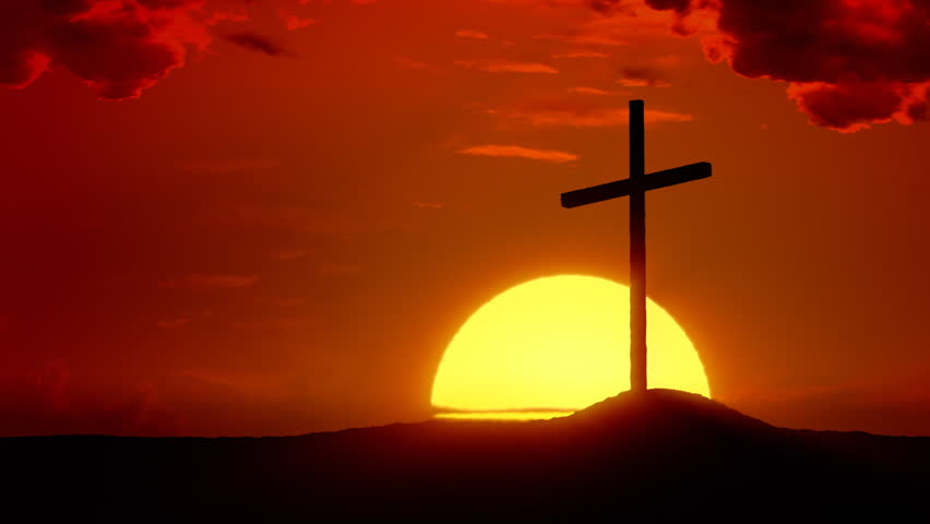 The Risen Christ: Time lapse sunrise behind Calvary Cross - HD stock footage clip