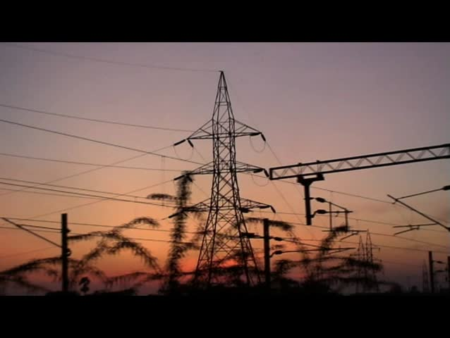Electrical transmission tower - HD stock footage clip