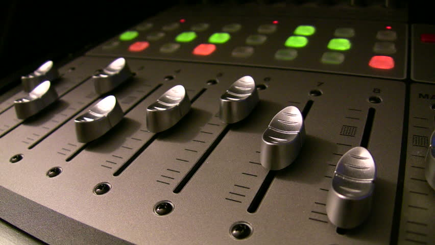 Audio Mixer Angle In Low Dramatic Light With Motorized