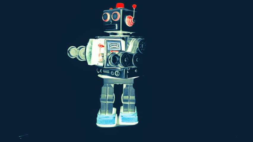 retro robot moves forward - HD stock video clip