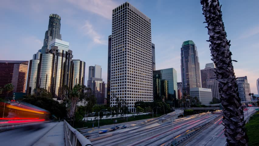 Freeway traffic in downtown Los Angeles. Motion timelapse hyperlapse. - HD stock footage clip