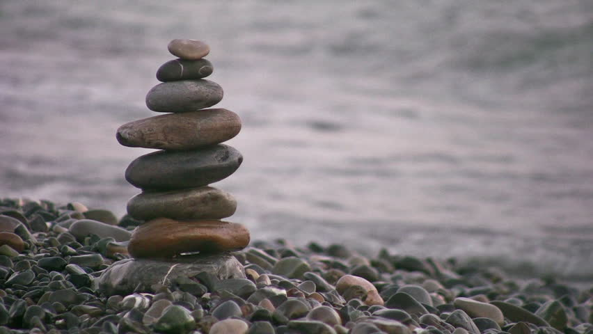 pyramid on beach  - HD stock footage clip