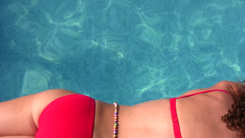 woman at pool  - HD stock footage clip