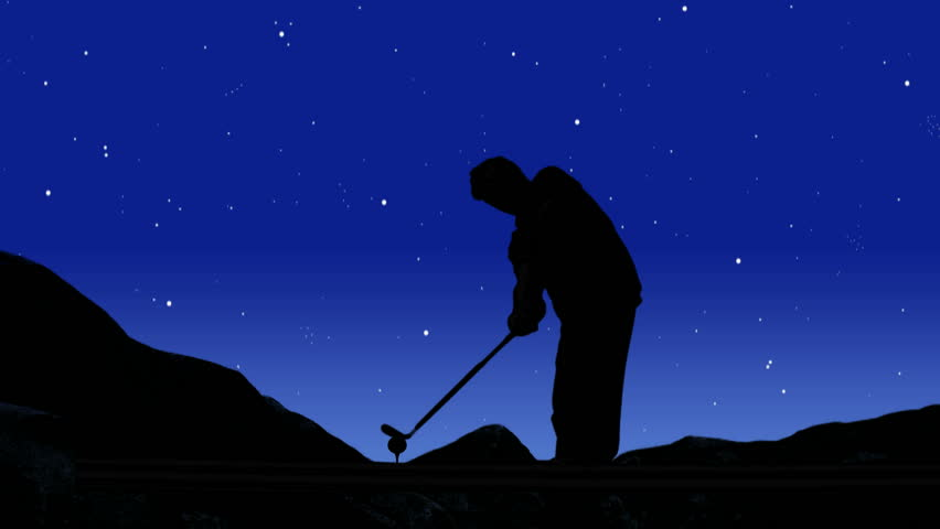 Silhouetted golfer swings club beneath beautiful ,starry night sky. Golf fantasy concept. - HD stock footage clip