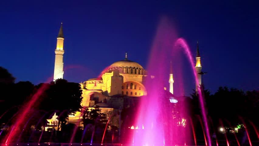 Hagia Sophia in night. Istanbul, Turkey  - HD stock footage clip