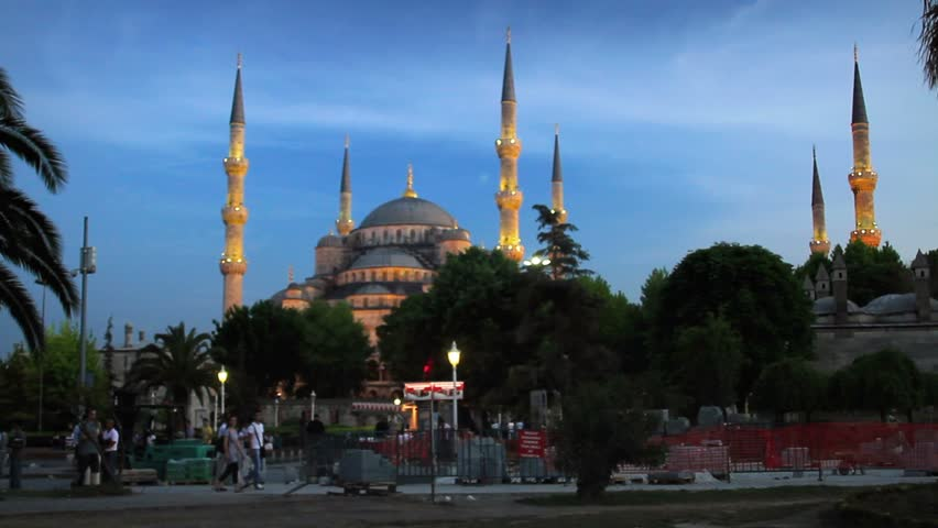 ISTANBUL - JUNE 6: Blue Mosque calls Muslims for evening pray at Sultanahmet Square on June 6, 2011 in Istanbul, Turkey. Prayer time at Sultanahmet Mosque, Istanbul  - HD stock video clip