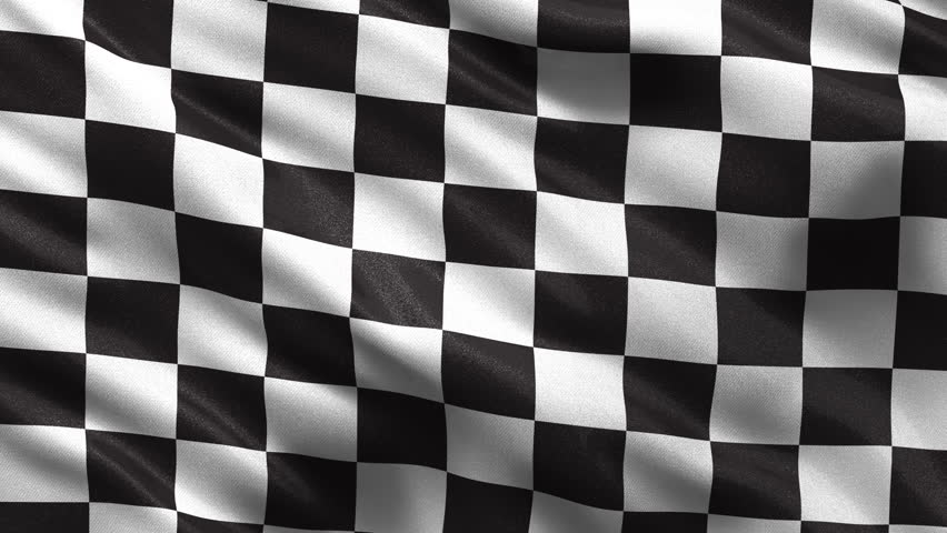Loop-ready checkered race flag waving in the wind with highly detailed fabric texture - HD stock footage clip