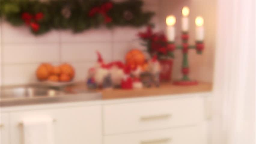 Girls exchanging Christmas presents, Sweden.