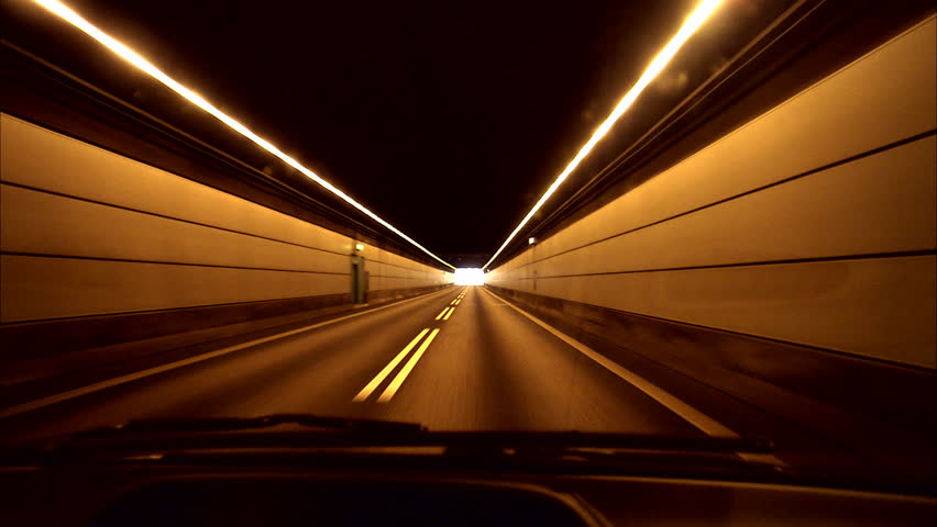 A car driving through a tunnel, Sweden. - HD stock video clip