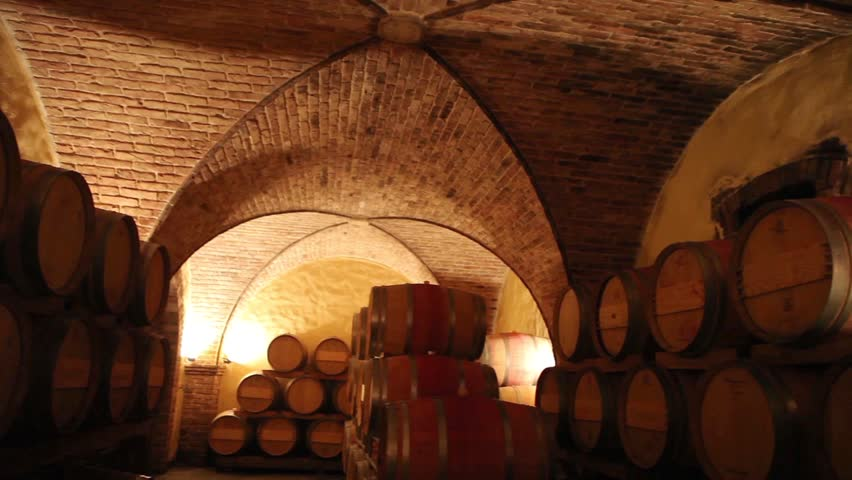 Barrels in a wine cellar at the Skoff winery in Gamlitz, Sudsteiermark, Austria