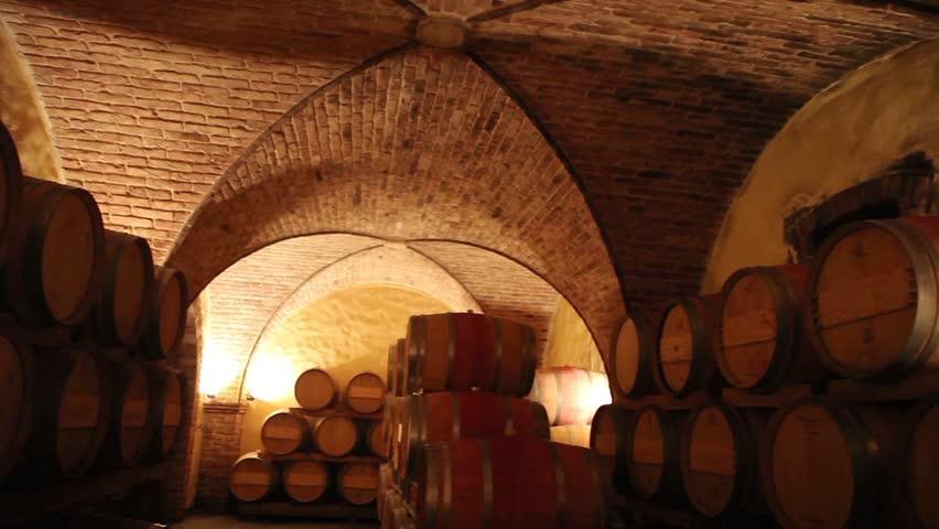 Barrels in a wine cellar at the Skoff winery in Gamlitz, Sudsteiermark, Austria