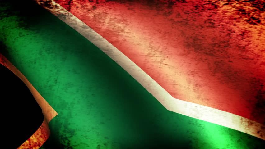 South Africa Flag Waving, grunge look