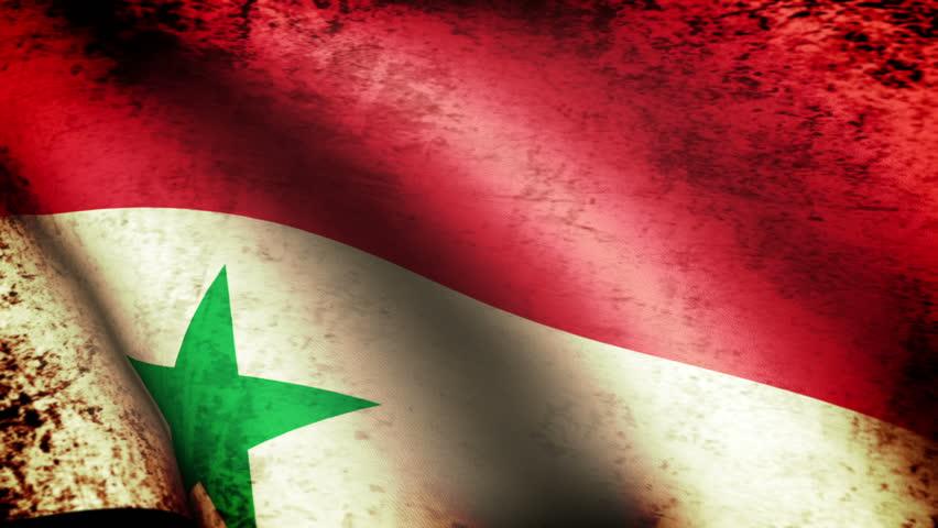 Syria Flag Waving, grunge look