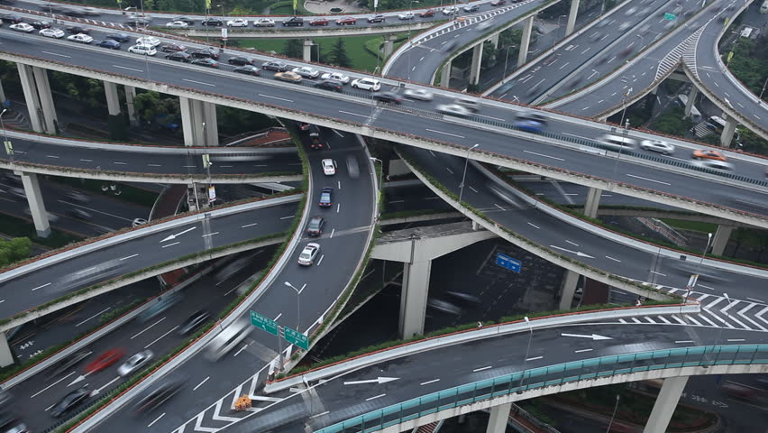 Time Lapse Aerial View Chinese Shanghai Busiest Highway, Freeway, Motorway, Busy Urban City Transportation Interchange, Heavy Traffic Jam Congestion, Rush Hour, Cars Passing Incoming Outgoing Driving