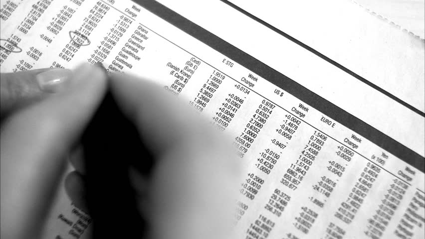 Stock exchange list in a paper. - HD stock video clip