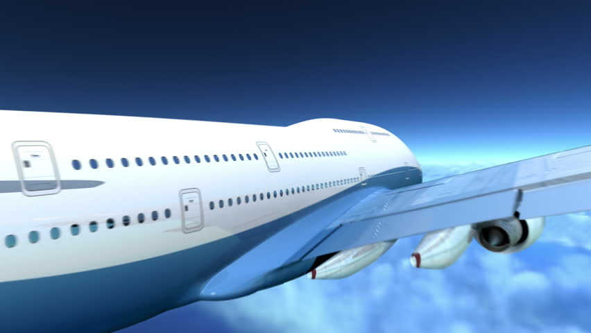 Airplane flying over clouds, 3d animation - HD stock footage clip