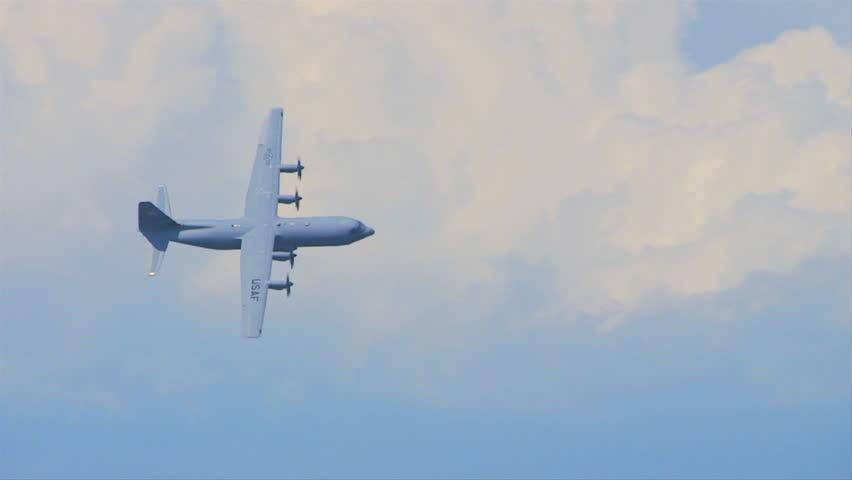 QUONSET, RHODE ISLAND - CIRCA JUNE 2012: Air force C-130 Hercules banking