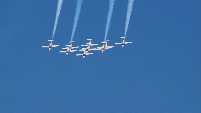 QUONSET, RHODE ISLAND - CIRCA JUNE 2012: Canadian Snowbirds Demonstration Team - 1
