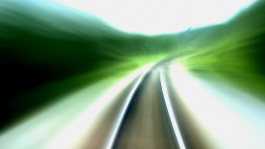Railroad tracks in moving, SEAMLESS LOOP. Perfect for title background or logo creation. - HD stock footage clip