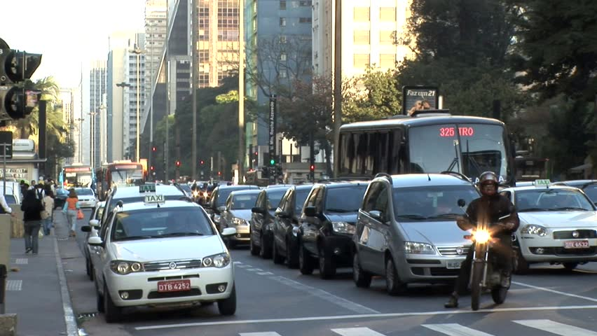 SAO PAULO, BRAZIL - CIRCA 2010:Extremely Busy Sao Paulo Intersection 2 - HD stock footage clip