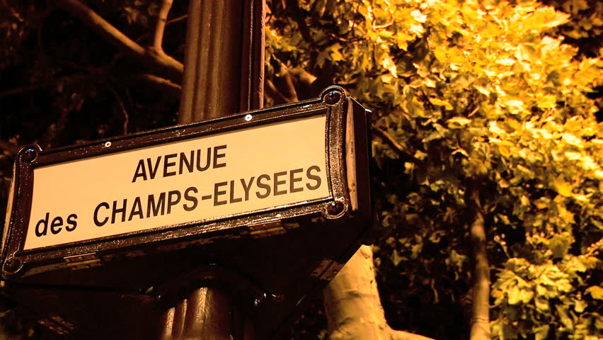 avenue des champs elysees street sign stock footage video 261247 shutterstock. Black Bedroom Furniture Sets. Home Design Ideas