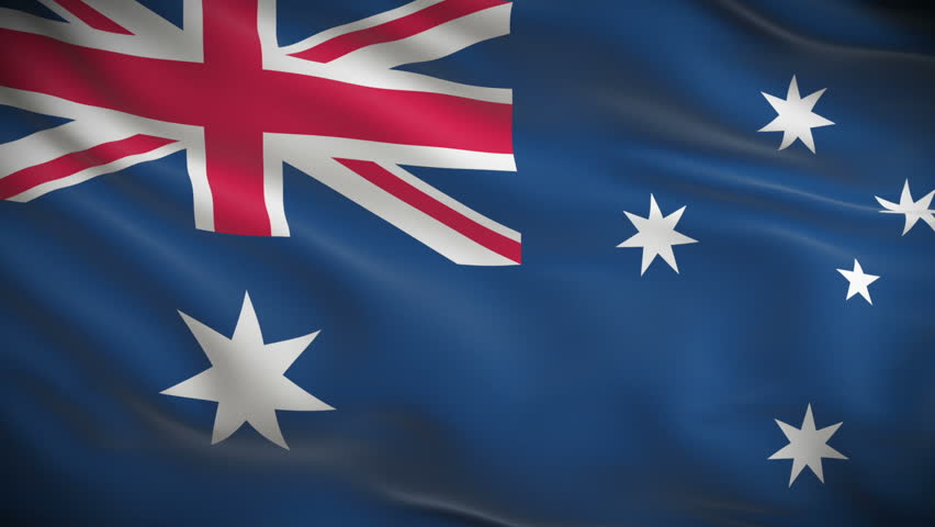 Highly detailed Australian flag ripples in the wind. Looped 3d animation for continuous playback. - HD stock footage clip