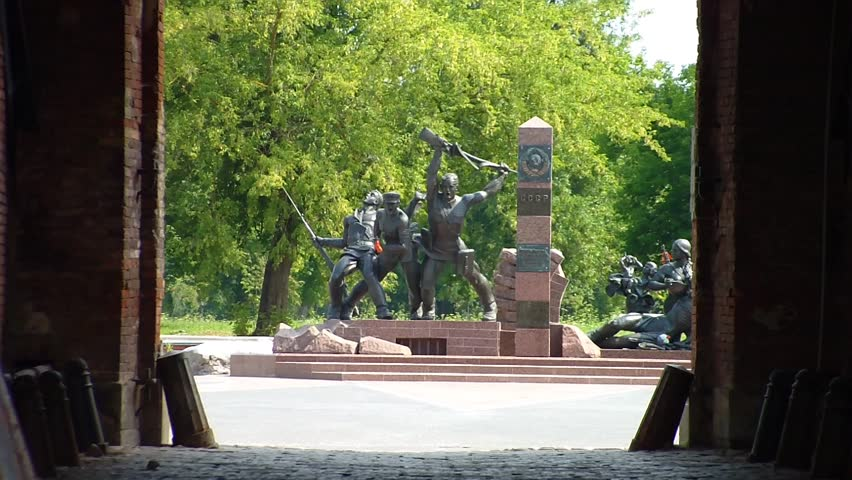 "BREST, BELARUS - AUGUST 4, 2012: Monument to the border guards and their families who died during the first days of hostilities, installed in the memorial complex ""Brest Fortress"". - HD stock footage clip"