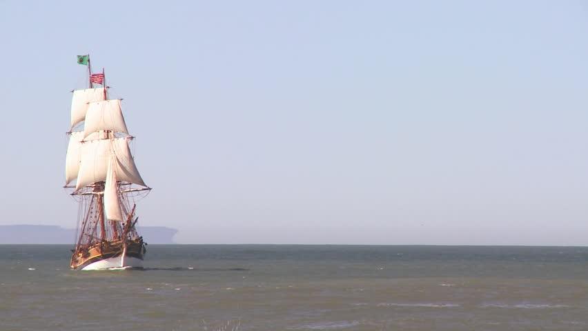 VENTURA, CALIFORNIA-CIRCA 2011-A tall master schooner sails on the high seas.