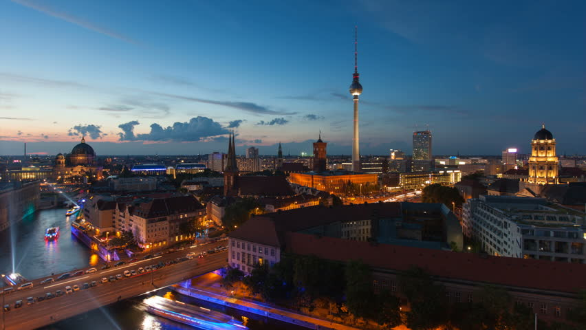 Berlin Skyline Light City Timelapse with Speed Boats and Traffic in Full HD 1080p, German Capital - HD stock footage clip