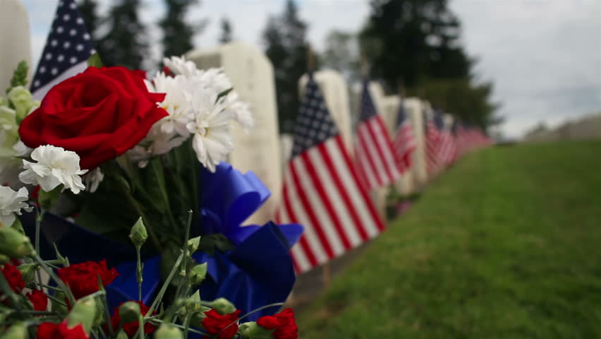 Crane/Dolly Shot Rising Military Cemetery - HD stock footage clip