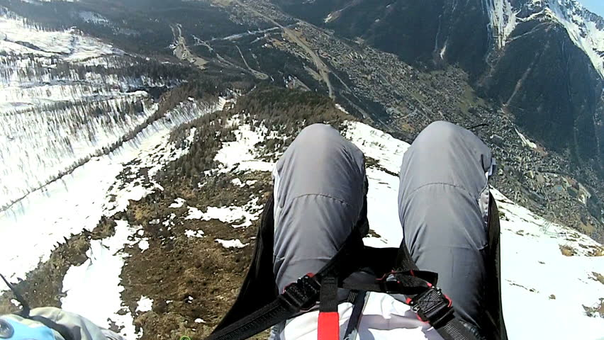 POV paragliding in the high Alps, Chamonix, France - HD stock footage clip