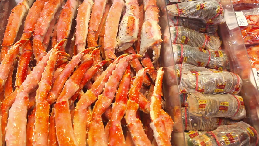 Seafood stall in a market