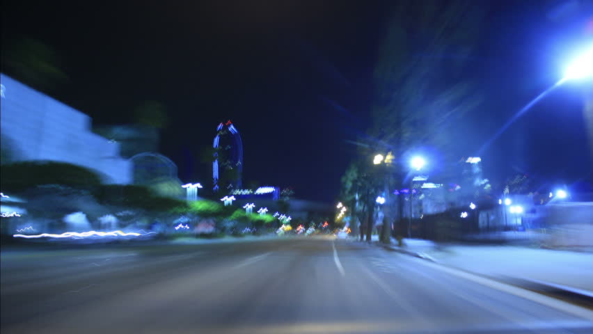 Driving Timelapse Night 30 Los Angeles Downtown VJ Loop - HD stock footage clip