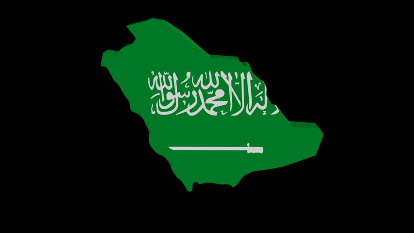 Saudi Arabia map flag rotating on black animation - HD stock video clip