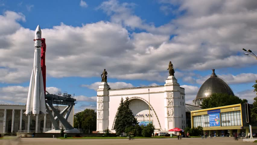 MOSCOW - SEPTEMBER 1: (TIME-LAPSE) Russian Exhibition Center at September 1, 2012 in Moscow, Russia. Townspeople and tourists celebrate City Day. - HD stock video clip