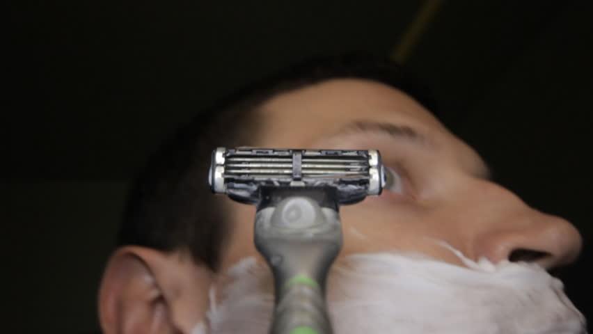razor shaves POV close up at sink