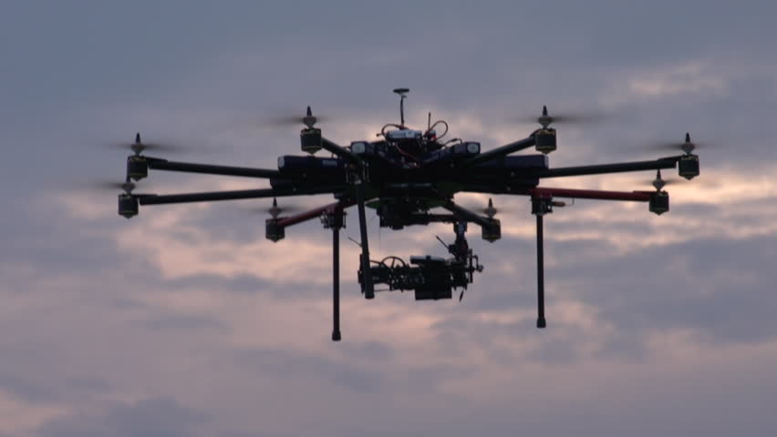 eight-engine UAV in flight, hover