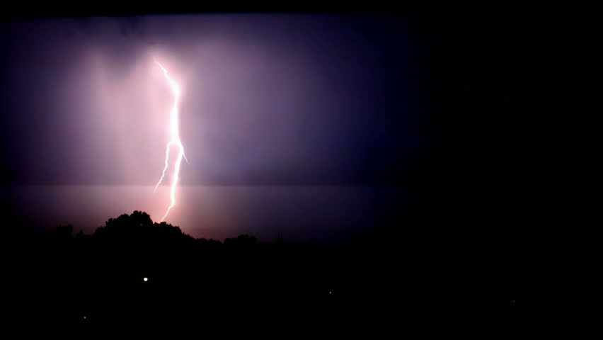night sky with lightning and storm,video clip,Lightning Bolt Strike