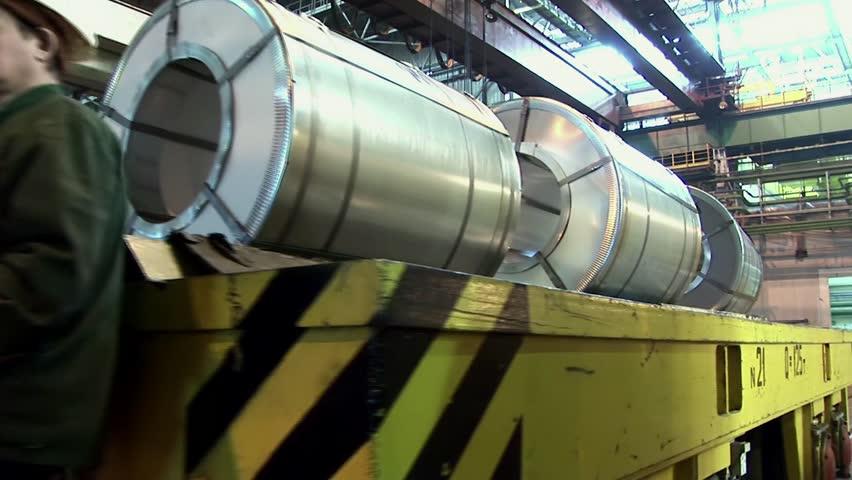 Transportation of a steel rolls.